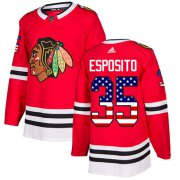 Wholesale Cheap Adidas Blackhawks #35 Tony Esposito Red Home Authentic USA Flag Stitched NHL Jersey