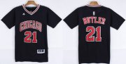 Wholesale Cheap Chicago Bulls #21 Jimmy Butler Revolution 30 Swingman 2014 New Black Short-Sleeved Jersey