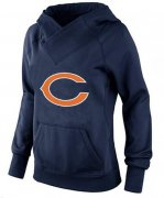 Wholesale Cheap Women's Chicago Bears Logo Pullover Hoodie Navy Blue-2
