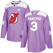 Wholesale Cheap Adidas Devils #3 Ken Daneyko Purple Authentic Fights Cancer Stitched NHL Jersey