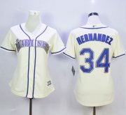 Wholesale Cheap Mariners #34 Felix Hernandez Cream Alternate Women's Stitched MLB Jersey