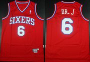 Wholesale Cheap Philadelphia 76ers #6 DR. J Nickname Red Swingman Throwback Jersey