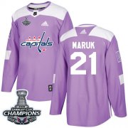 Wholesale Cheap Adidas Capitals #21 Dennis Maruk Purple Authentic Fights Cancer Stanley Cup Final Champions Stitched NHL Jersey
