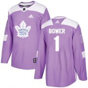 Wholesale Cheap Adidas Maple Leafs #1 Johnny Bower Purple Authentic Fights Cancer Stitched NHL Jersey