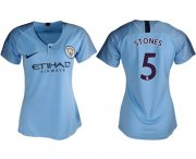 Wholesale Cheap Women's Manchester City #5 Stones Home Soccer Club Jersey
