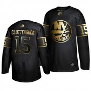Wholesale Cheap Adidas Islanders #15 Cal Clutterbuck Men's 2019 Black Golden Edition Authentic Stitched NHL Jersey