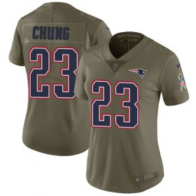 Wholesale Cheap Nike Patriots #23 Patrick Chung Olive Women\'s Stitched NFL Limited 2017 Salute to Service Jersey