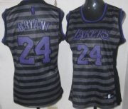 Wholesale Cheap Los Angeles Lakers #24 Kobe Bryant Gray With Black Pinstripe Womens Jersey