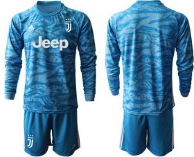 Wholesale Cheap Juventus Blank Blue Goalkeeper Long Sleeves Soccer Club Jersey
