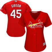 Wholesale Cheap Cardinals #45 Bob Gibson Red Alternate Women's Stitched MLB Jersey