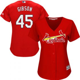 Wholesale Cheap Cardinals #45 Bob Gibson Red Alternate Women\'s Stitched MLB Jersey