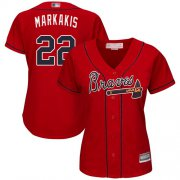 Wholesale Cheap Braves #22 Nick Markakis Red Alternate Women's Stitched MLB Jersey