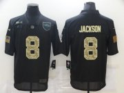 Wholesale Cheap Men's Baltimore Ravens #8 Lamar Jackson Black Camo 2020 Salute To Service Stitched NFL Nike Limited Jersey
