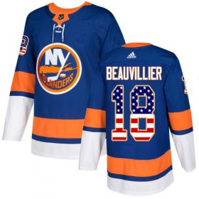 Wholesale Cheap Adidas Islanders #18 Anthony Beauvillier Royal Blue Home Authentic USA Flag Stitched NHL Jersey