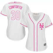 Wholesale Cheap Mets #30 Michael Conforto White/Pink Fashion Women's Stitched MLB Jersey