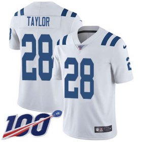 Wholesale Cheap Nike Colts #28 Jonathan Taylor White Youth Stitched NFL 100th Season Vapor Untouchable Limited Jersey