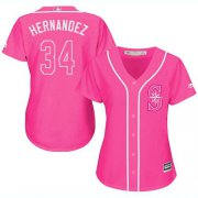 Wholesale Cheap Mariners #34 Felix Hernandez Pink Fashion Women's Stitched MLB Jersey