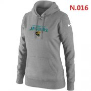 Wholesale Cheap Women's Nike Jacksonville Jaguars Heart & Soul Pullover Hoodie Light Grey