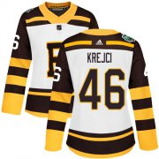 Wholesale Cheap Adidas Bruins #46 David Krejci White Authentic 2019 Winter Classic Women's Stitched NHL Jersey