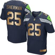 Wholesale Cheap Nike Seahawks #25 Richard Sherman Steel Blue Team Color Men's Stitched NFL Elite Gold Jersey