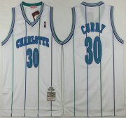 Wholesale Cheap Men's Charlotte Hornets #30 Dell Curry 1992-93 White Hardwood Classics Soul Swingman Throwback Jersey