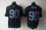 Wholesale Cheap Sideline Black United Lions #90 Ndamukong Suh Black Stitched NFL Jersey