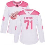 Wholesale Cheap Adidas Red Wings #71 Dylan Larkin White/Pink Authentic Fashion Women's Stitched NHL Jersey