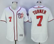Wholesale Cheap Nationals #7 Trea Turner White Flexbase Authentic Collection Stitched MLB Jersey