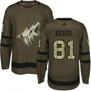 Wholesale Cheap Adidas Coyotes #81 Phil Kessel Green Salute to Service Stitched Youth NHL Jersey