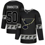 Wholesale Cheap Adidas Blues #50 Jordan Binnington Black Authentic Team Logo Fashion Stitched NHL Jersey