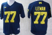 Wholesale Cheap Michigan Wolverines #77 Taylor Lewan Navy Blue Jersey
