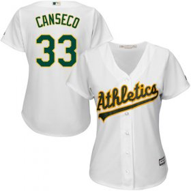Wholesale Cheap Athletics #33 Jose Canseco White Home Women\'s Stitched MLB Jersey