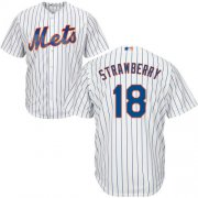 Wholesale Cheap Mets #18 Darryl Strawberry White(Blue Strip) Cool Base Stitched Youth MLB Jersey