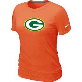 Wholesale Cheap Women\'s Nike Dark Green Bay Packers Logo NFL T-Shirt Orange