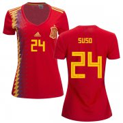 Wholesale Cheap Women's Spain #24 Suso Red Home Soccer Country Jersey