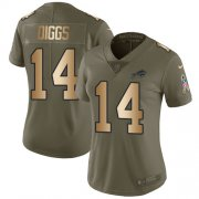 Wholesale Cheap Nike Bills #14 Stefon Diggs Olive/Gold Women's Stitched NFL Limited 2017 Salute To Service Jersey