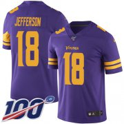 Wholesale Cheap Nike Vikings #18 Justin Jefferson Purple Men's Stitched NFL Limited Rush 100th Season Jersey
