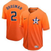 Wholesale Cheap Nike Astros #2 Alex Bregman Orange Fade Authentic Stitched MLB Jersey