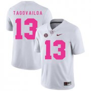 Wholesale Cheap Alabama Crimson Tide 13 Tua Tagovailoa White 2017 Breast Cancer Awareness College Football Jersey
