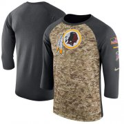 Wholesale Cheap Men's Washington Redskins Nike Camo Anthracite Salute to Service Sideline Legend Performance Three-Quarter Sleeve T-Shirt