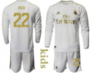 Wholesale Cheap Real Madrid #22 Isco Home Long Sleeves Kid Soccer Club Jersey