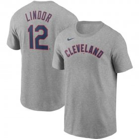 Wholesale Cheap Cleveland Indians #12 Francisco Lindor Nike Name & Number T-Shirt Gray