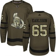 Wholesale Cheap Adidas Senators #65 Erik Karlsson Green Salute to Service Stitched Youth NHL Jersey