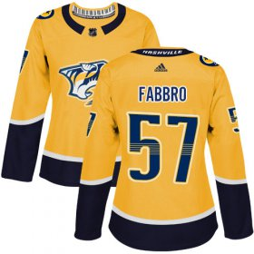 Wholesale Cheap Adidas Predators #57 Dante Fabbro Yellow Home Authentic Women\'s Stitched NHL Jersey