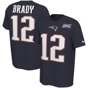 Wholesale Cheap New England Patriots #12 Tom Brady Nike NFL 100th Season Player Pride Name & Number Performance T-Shirt Navy
