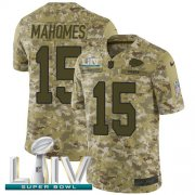 Wholesale Cheap Nike Chiefs #15 Patrick Mahomes Camo Super Bowl LIV 2020 Youth Stitched NFL Limited 2018 Salute To Service Jersey