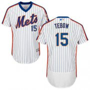 Wholesale Cheap Mets #15 Tim Tebow White(Blue Strip) Flexbase Authentic Collection Alternate Stitched MLB Jersey