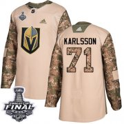 Wholesale Cheap Adidas Golden Knights #71 William Karlsson Camo Authentic 2017 Veterans Day 2018 Stanley Cup Final Stitched NHL Jersey