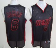 Wholesale Cheap Miami Heat #6 LeBron James All Black With Red Swingman Jersey