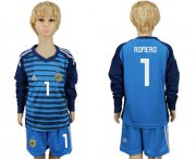 Wholesale Cheap Argentina #1 Romero Blue Long Sleeves Goalkeeper Kid Soccer Country Jersey